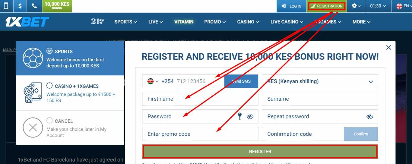 How to create 1xBet account by email